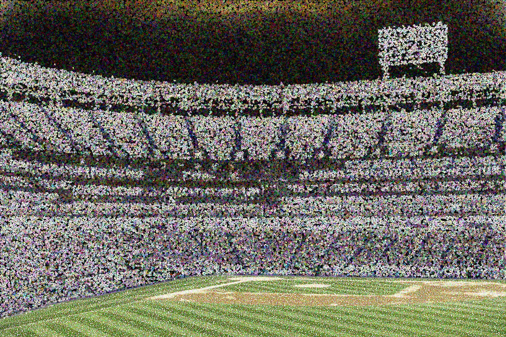 Pointillist abstract of open-air baseball stadium at night, for themes of sports, competition, fandom